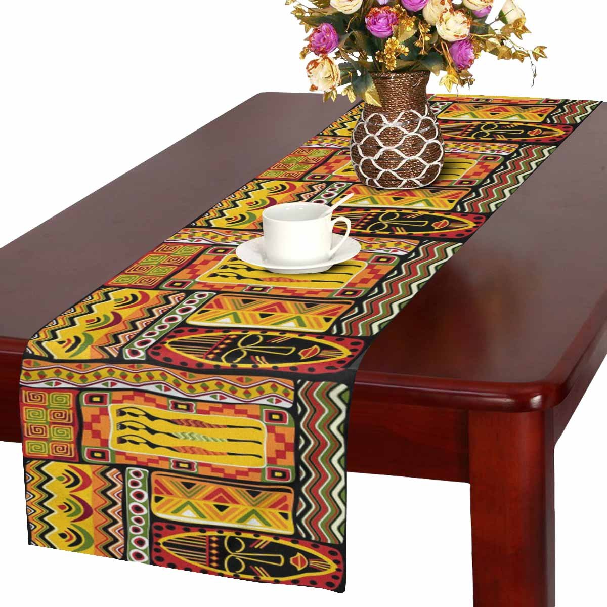 InterestPrint African Artwork African Woman Historical Elements Orange Table Runner Cotton Linen Home Decor for Wedding Party Banquet Decoration 16 x 72 Inches
