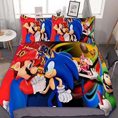 MEW Anime Twin Bedding Duvet Cover Set,Mario Luigi,3 Pieces Bedding Set,with Zipper Closure and 2 Pillow Shams,Cute Boys Girls Comforter Sets,Luxury Bedroom Decorations: Kitchen & Dining