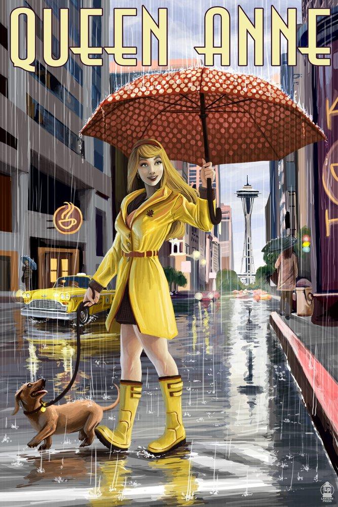 Queen Anne、ワシントン – Rainy Day Girl 36 x 54 Giclee Print LANT-48453-36x54 36 x 54 Giclee Print  B017E9Y500