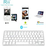 Rii BT09 Ultra Slim Portable Wireless Bluetooth Keyboard For Windows Devices ipad Mini iphone MacBook Pro Tablets PC Android Tablets Samsung Smart TV Box(White)