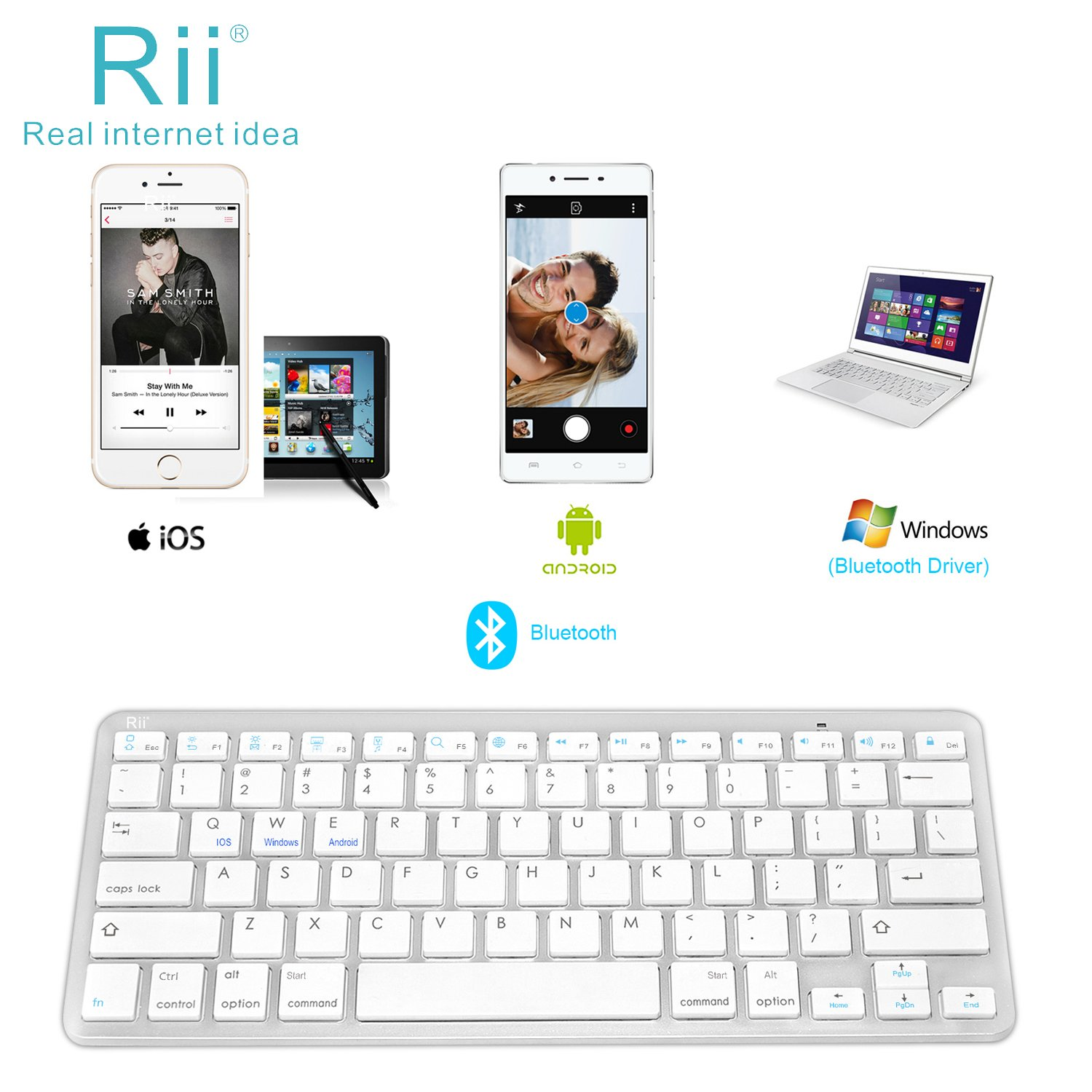 Rii BT09 Ultra Slim Portable Wireless Bluetooth Keyboard for Windows Devices ipad Mini iPhone MacBook Pro Tablets PC Android Tablets Samsung Smart TV Box(White) Riitek 4958086