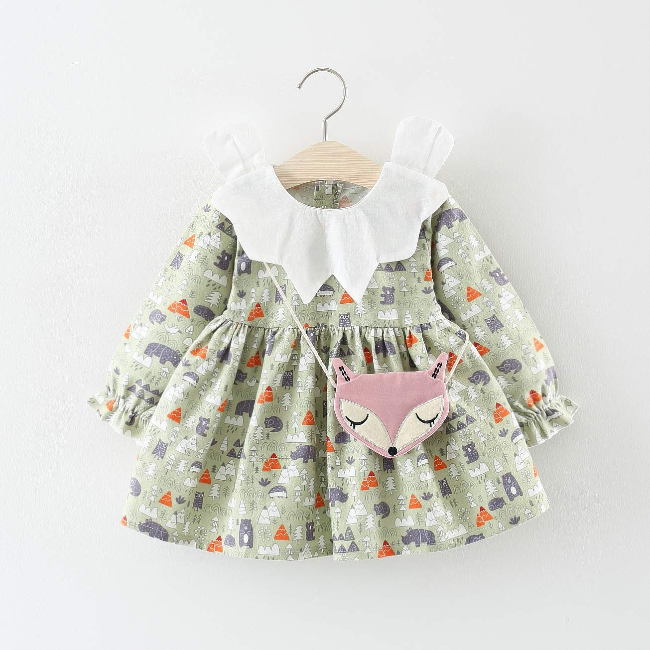 Shawnlen Toddler Infant Baby Girl Casual Dress One Piece Long Sleeve Cartoon Printing Pleated Tutu Dress 0.5-3 Years
