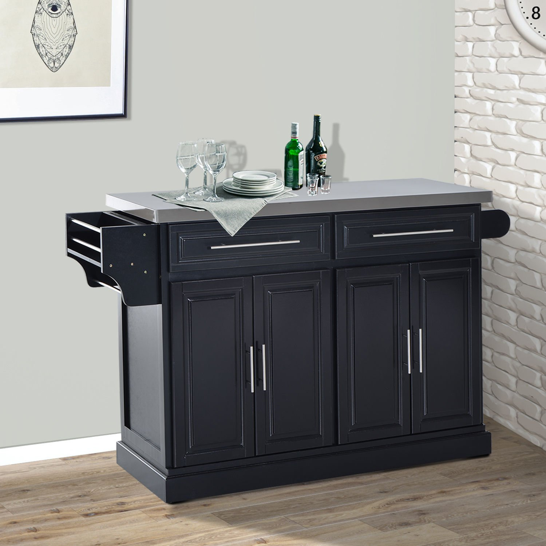 HomCom Modern Rolling Kitchen Island Storage Cart w/Stainless Steel Top - Black by HOMCOM (Image #3)