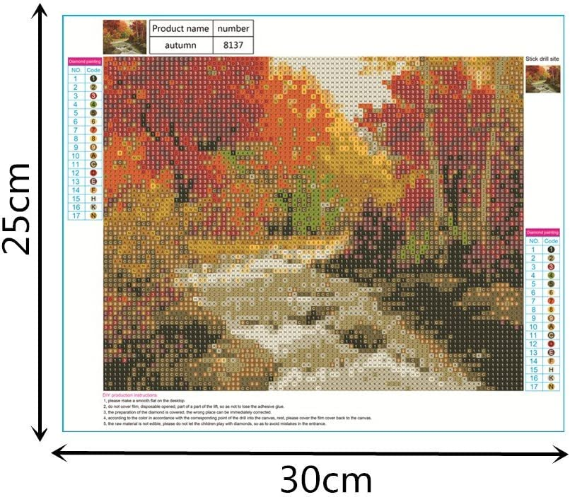 KUNAW 5D Diamond Paintings Kits,Rhinestone Pasted DIY Cross Stitch Embroidery Wall Art Painting Craft for Adult Kids Living Room Bedroom Wall Mount Decoration Four Seasons Scenery Landscape,12x10 Inch Autumn