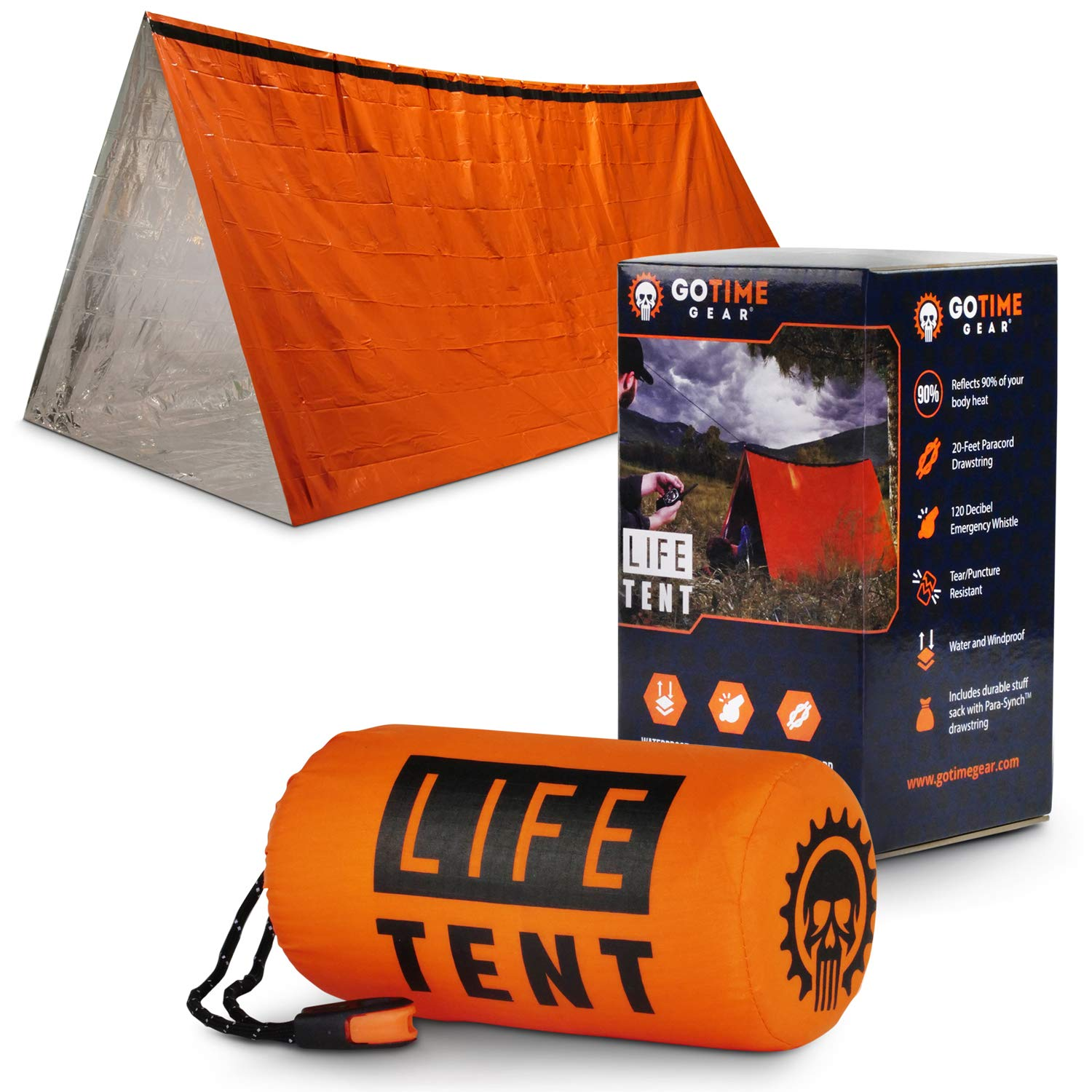Go Time Gear Life Tent Emergency Survival Shelter - 2 Person Emergency Tent - Use As Survival Tent, Emergency Shelter, Tube Tent, Survival Tarp - Includes Survival Whistle & Paracord (Orange) by Go Time Gear