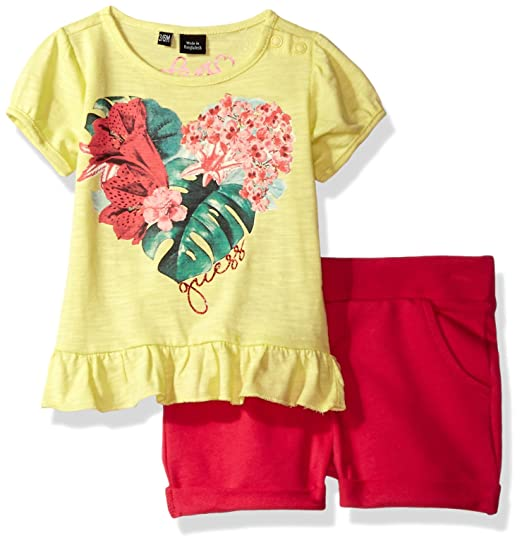 a8593bcc2237 GUESS Baby Girls' Set Sleeve Heart T-Shirt and Shorts, Hippy Yellow 3