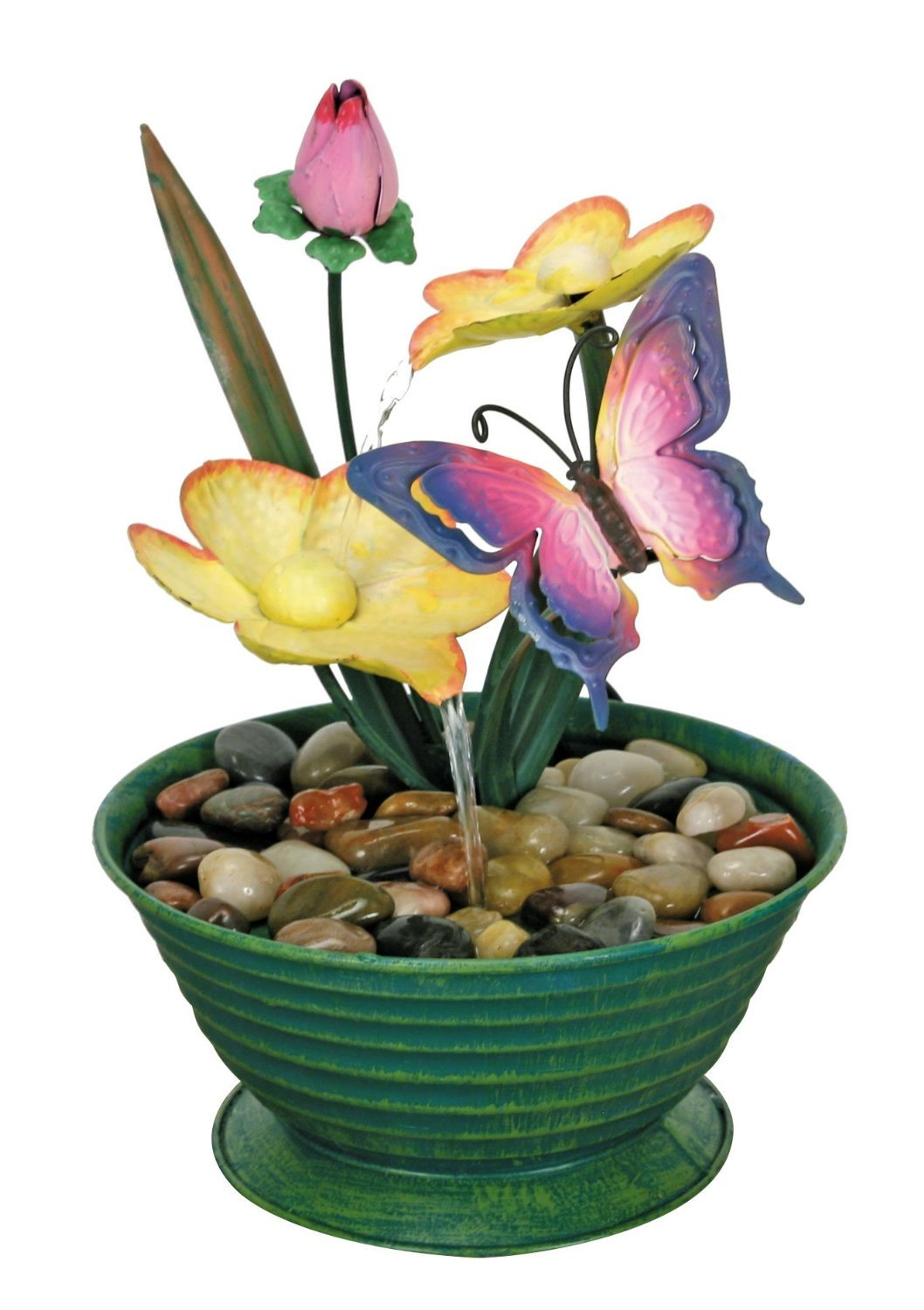 Nature's Garden Butterfly Metal Fountain, Green