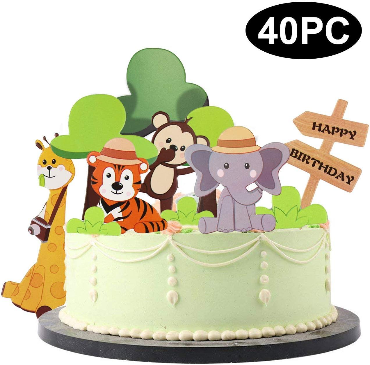 Strange Busoha Animals Cake Toppers 40 Pcs Safari Cake Toppers Jungle Zoo Funny Birthday Cards Online Amentibdeldamsfinfo