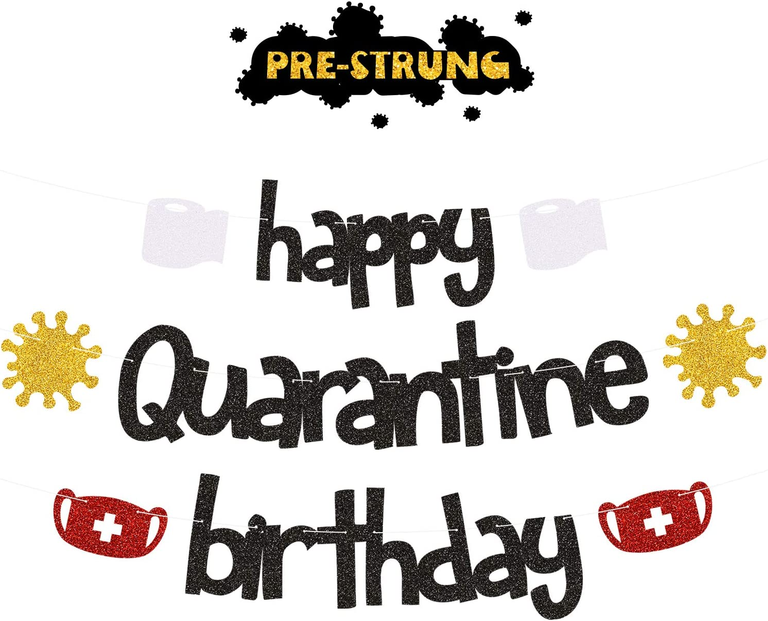 Stay Home Birthday Party Centerpiece Garland Decorations Happy Quarantine Birthday Banners Social Distancing Bday Lockdown Party Decor Supplies
