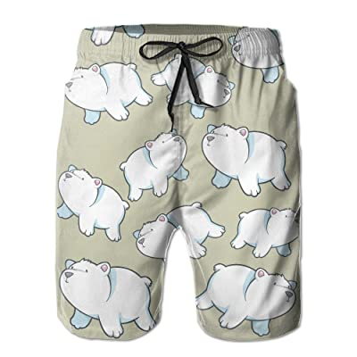 b97a7af514 Cartoon Polar Bear Vector Pattern Men's Novelty Print Summer Beach Short Board  Shorts Swimming Trunks