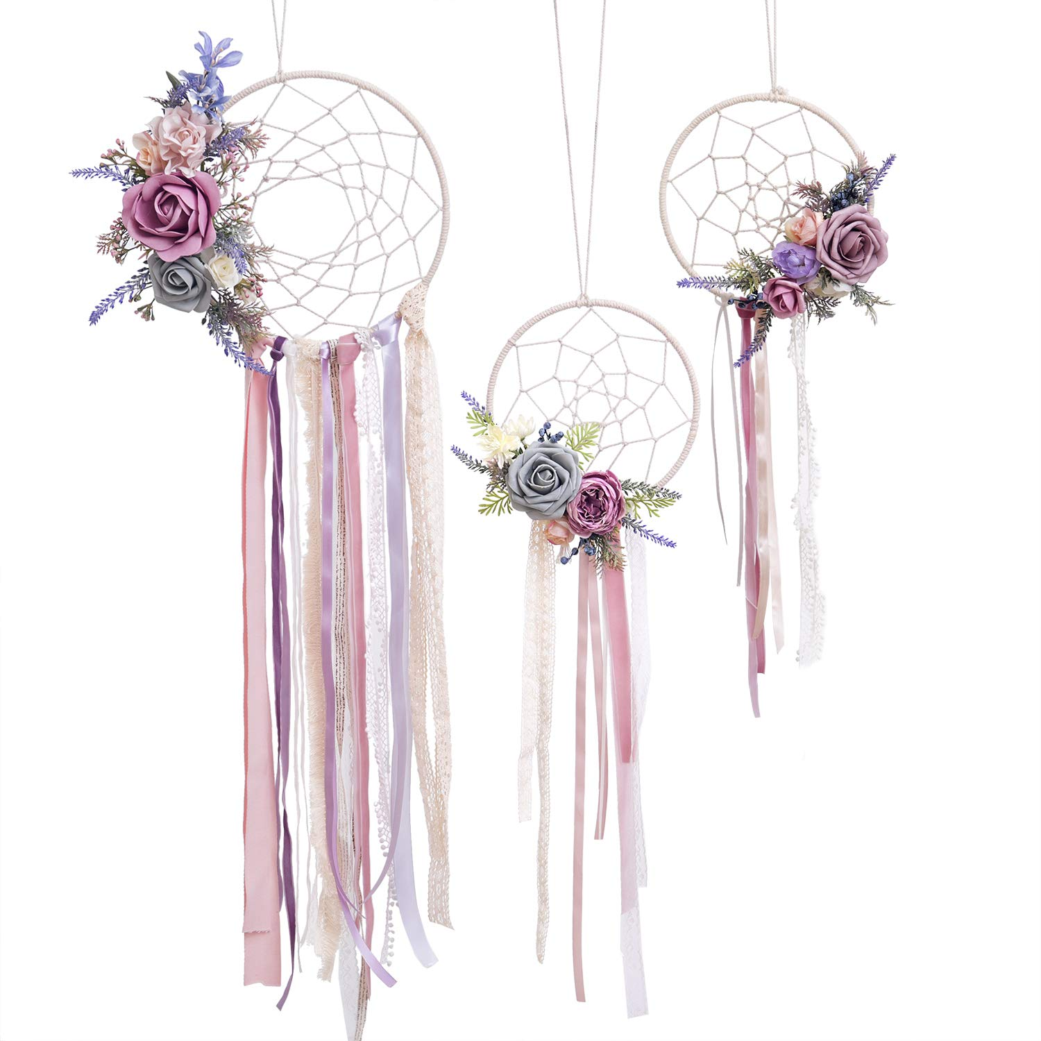 Ling's moment Set of 3 Boho Dreamcatcher Floral Triangle Dreamcatcher Handmade Lavender Boho Wall Hanging with Tassel for Home Wedding Baby Shower Girl Nursery Wall Art