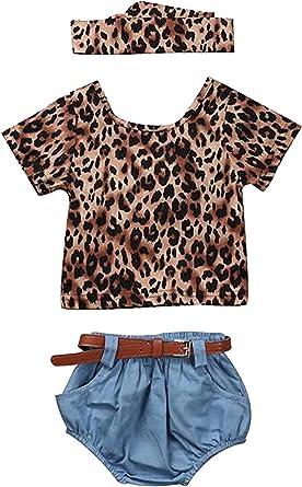 3Pcs Toddler Baby Boys Girls 3-24 Months Print Tops Clothes+Leopard Pants+Headbands Set