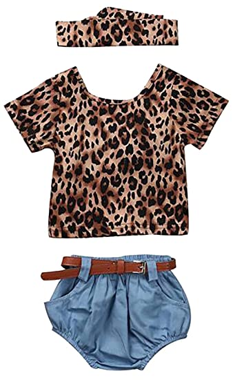 d42f5c46cea0 SUPEYA Toddler Baby Girls Leopard Print Tops+Denim Shorts+Headband 3Pcs Set:  Amazon.ca: Clothing & Accessories