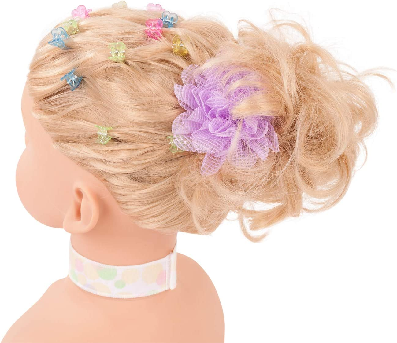 geeignet f/ür M/ädchen tulipde Haarwerk mit blonden Haaren und blauen Augen Frisierkopf und Schminkkopf in Set