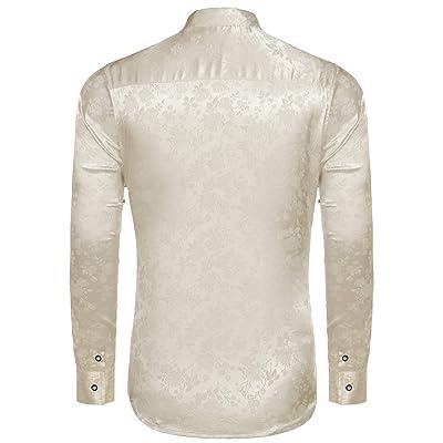 COOFANDY Mens Floral Rose Printed Long Sleeve Dress Shirts Prom Wedding Party Bu
