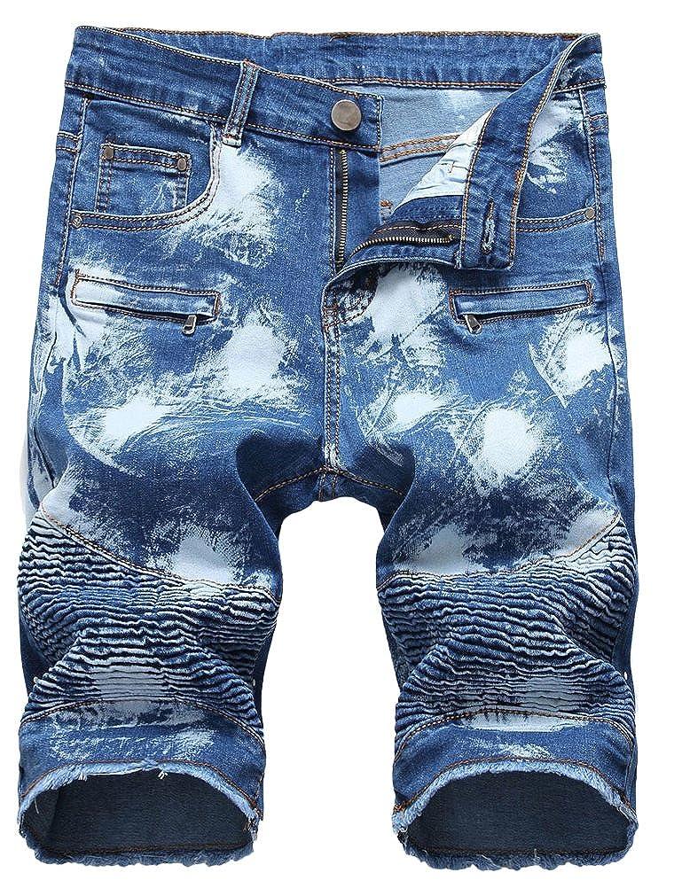 Lavnis Men's Casual Denim Shorts Classic Fit Ripped Jeans Biker Shorts VGS892