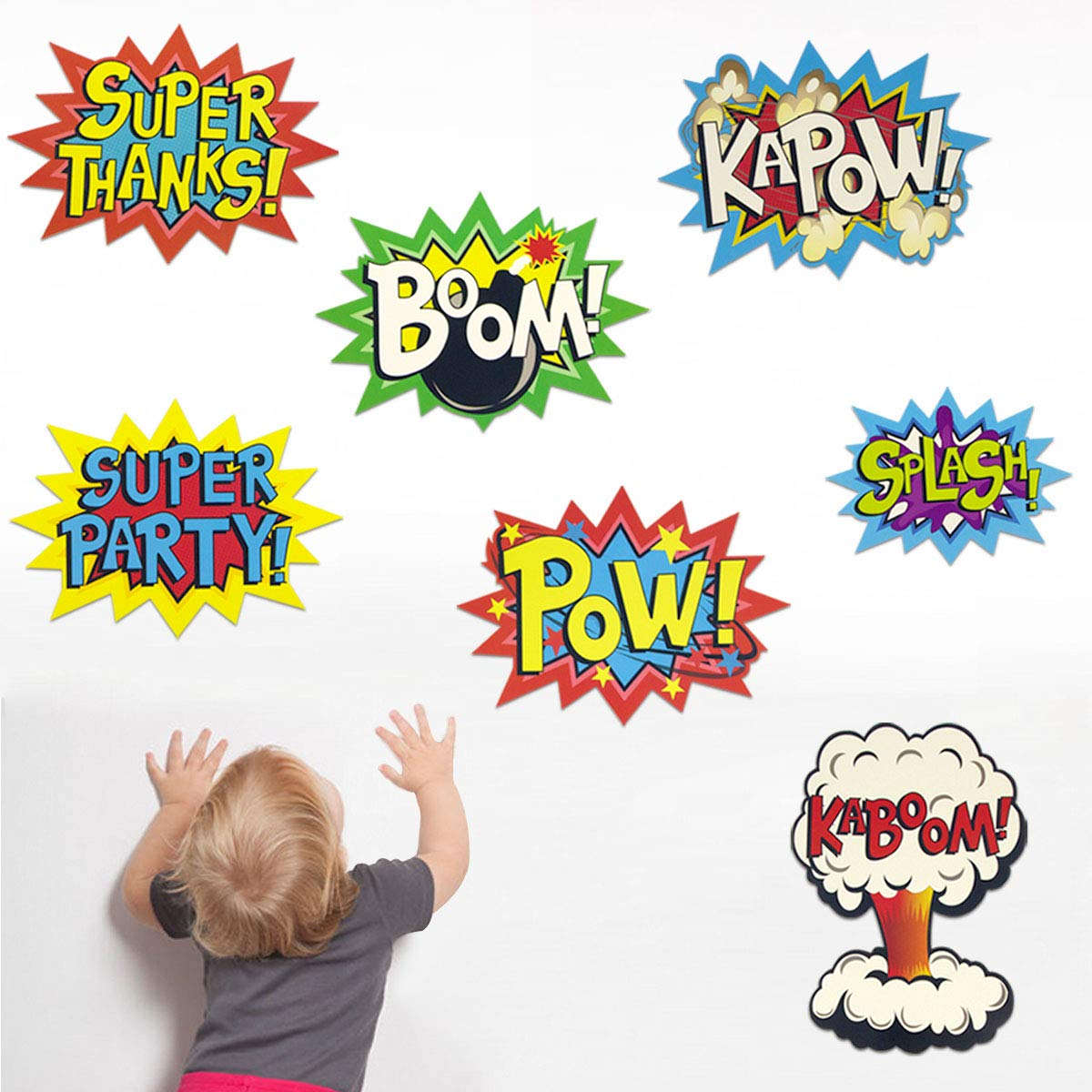 Large Superhero Action Signs Cutouts 12PCS Words and Cityscape Cut-Outs for Party Decoration by Fancy Land (Image #4)