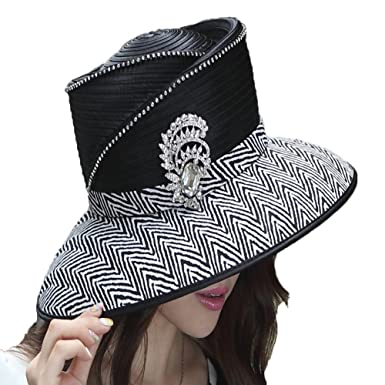 27e702ddc7b Image Unavailable. Image not available for. Color  June s Young Elegant  Ladies Church Hat Women Hat Winter Diamond Casings Big Brim