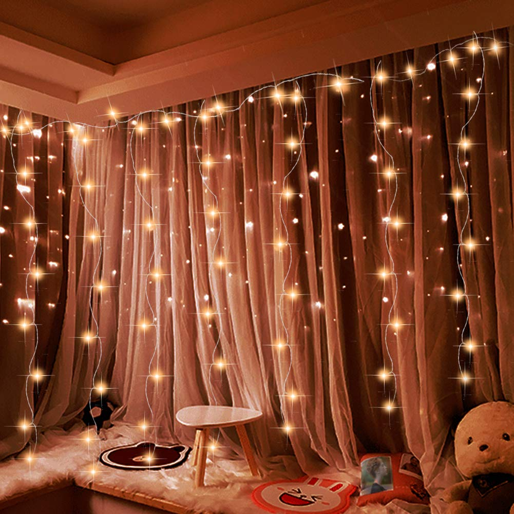 Curtain String Light,[9.84 ft×9.84 ft] 305 Led Window Icicle Fairy Light with 8 Modes Setting,Suitable for Bedroom and Pat Garden Outdoor Indoor Wall Decoration for Party, Wedding, Xmas by Cameker (Image #1)