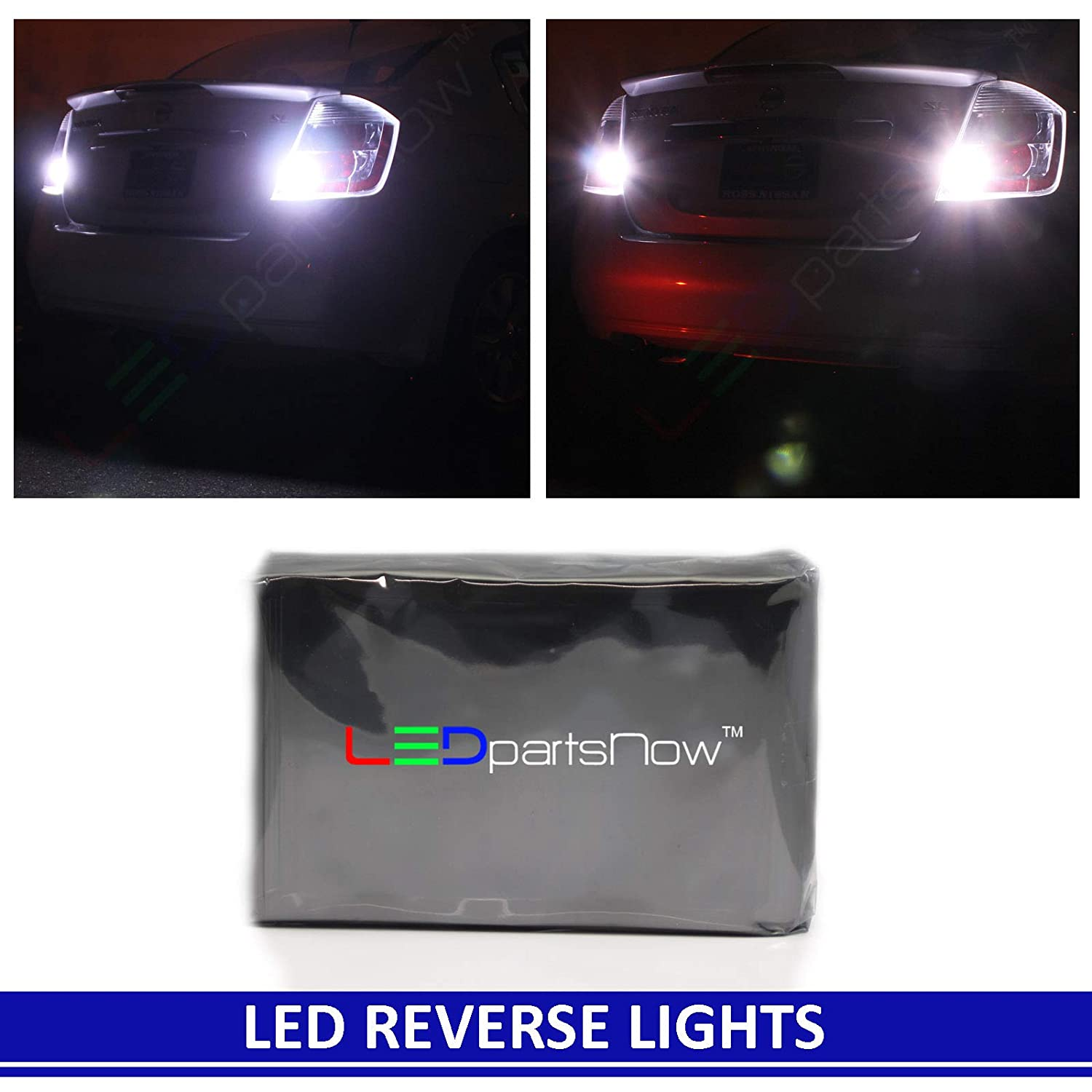 LEDpartsNow WHITE LED Exterior Back Up Reverse Lights Replacement for 2008-2017 Subaru Impreza WRX STI Sedan (2 Bulbs), T10 T15 921 912 906 901 909