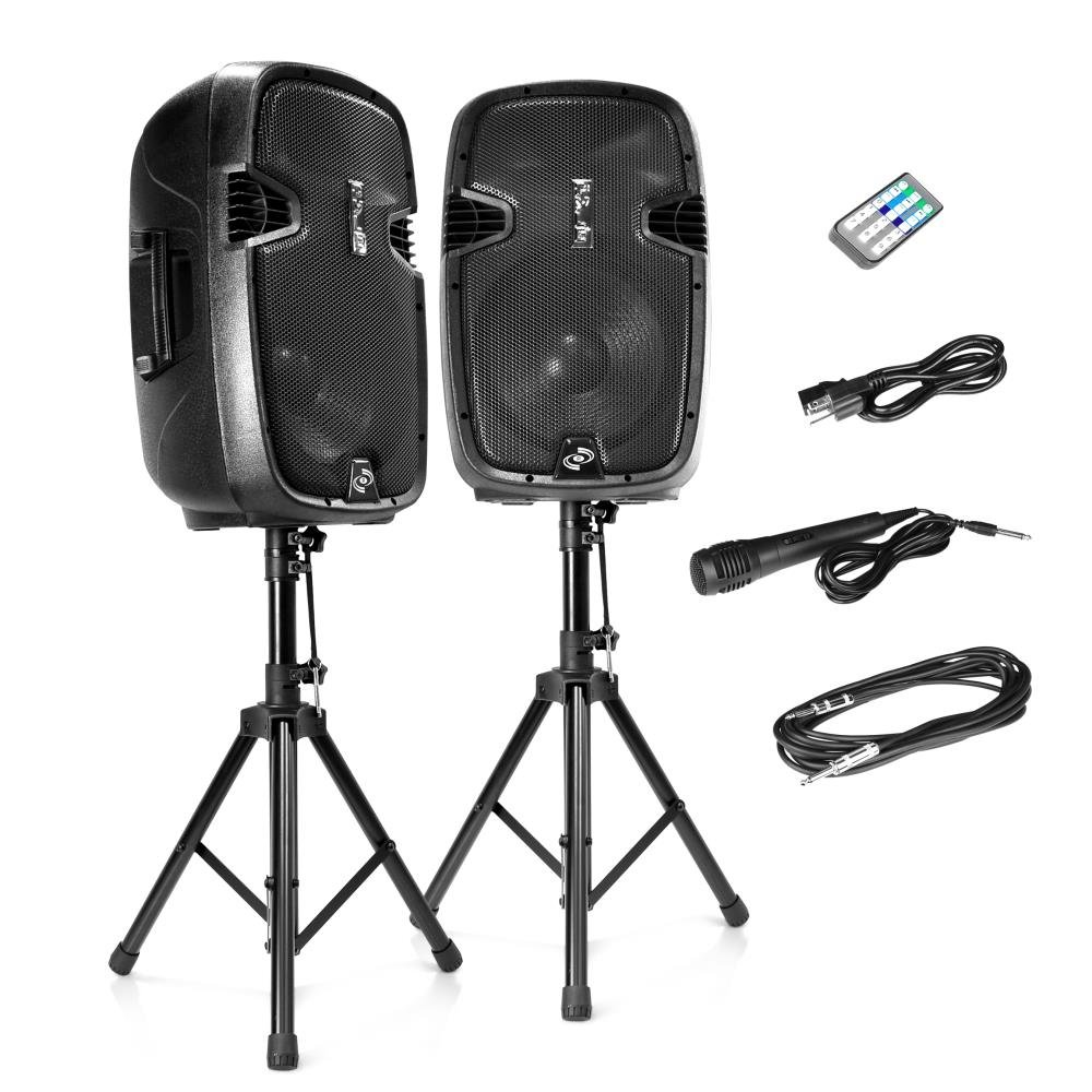 Pyle Active + Passive PA Speaker System Kit, Black (PPHP849KT)
