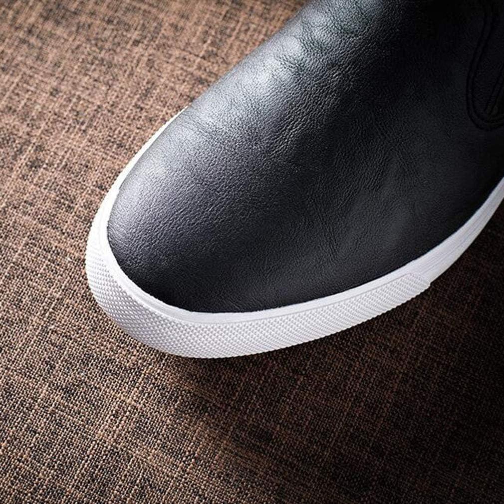 WIN&FACATORY herenmode Casual Loafers Sneakers Slip On schoenen platte lederen schoenen (kleur: ZWART, maat: EU39 / UK6.5 / CN40) laag Eu39/Uk6.5/Cn40-brown Eu39/Uk6.5/Cn40-black