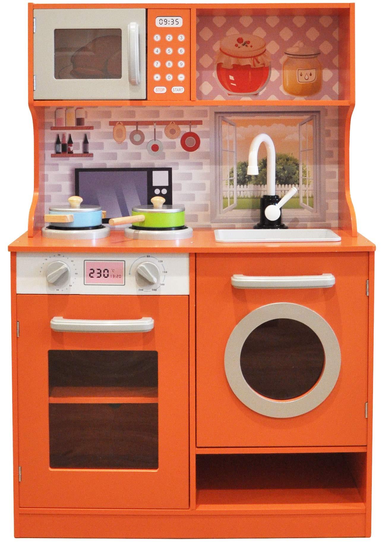 Rainbow Sophia Vibrant Wood Kids Play Kitchen with Cookware Accessories (Orange)