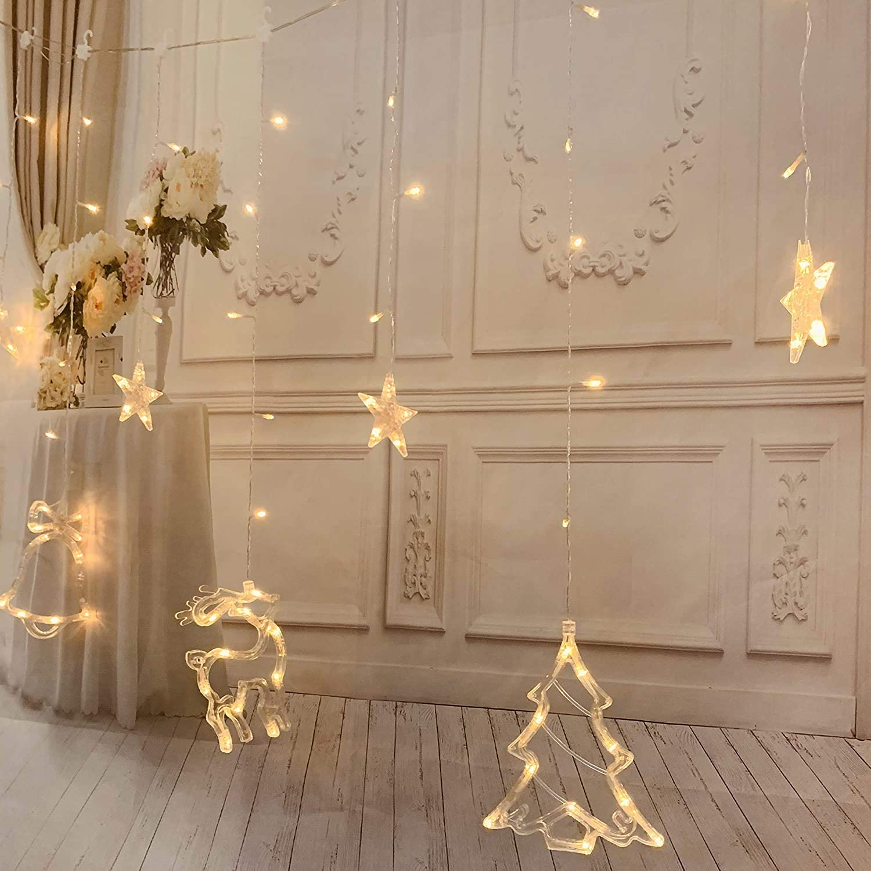 Decorazioni Natalizie 94.Illuminazione Per Esterni 94 Luci A Led A Forma Di Fiocco Di Neve Feste Di Compleanno Fai Da Te Bianco Caldo Con 8 Modalita Di Sfarfallio E Timer Per Matrimoni Natale Decorazione