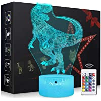 Elstey T-rex Dinosaur Night Light,3D Kids Bedside Lamps,Frame Table Lamp,Eye See Lamps,Touch&Remote Control,16 Colors+7 Colors Changing Illusion Nightlight,Birthday Gifts for Girls Boys