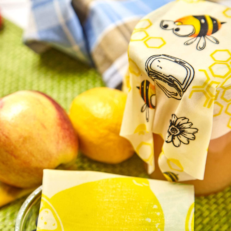 fogli cerati alimentari Set di 3 Bees wrap 18x20cm pellicola per alimenti ecologica e riutilizzabile fogli di cera d/'api naturale per alimenti