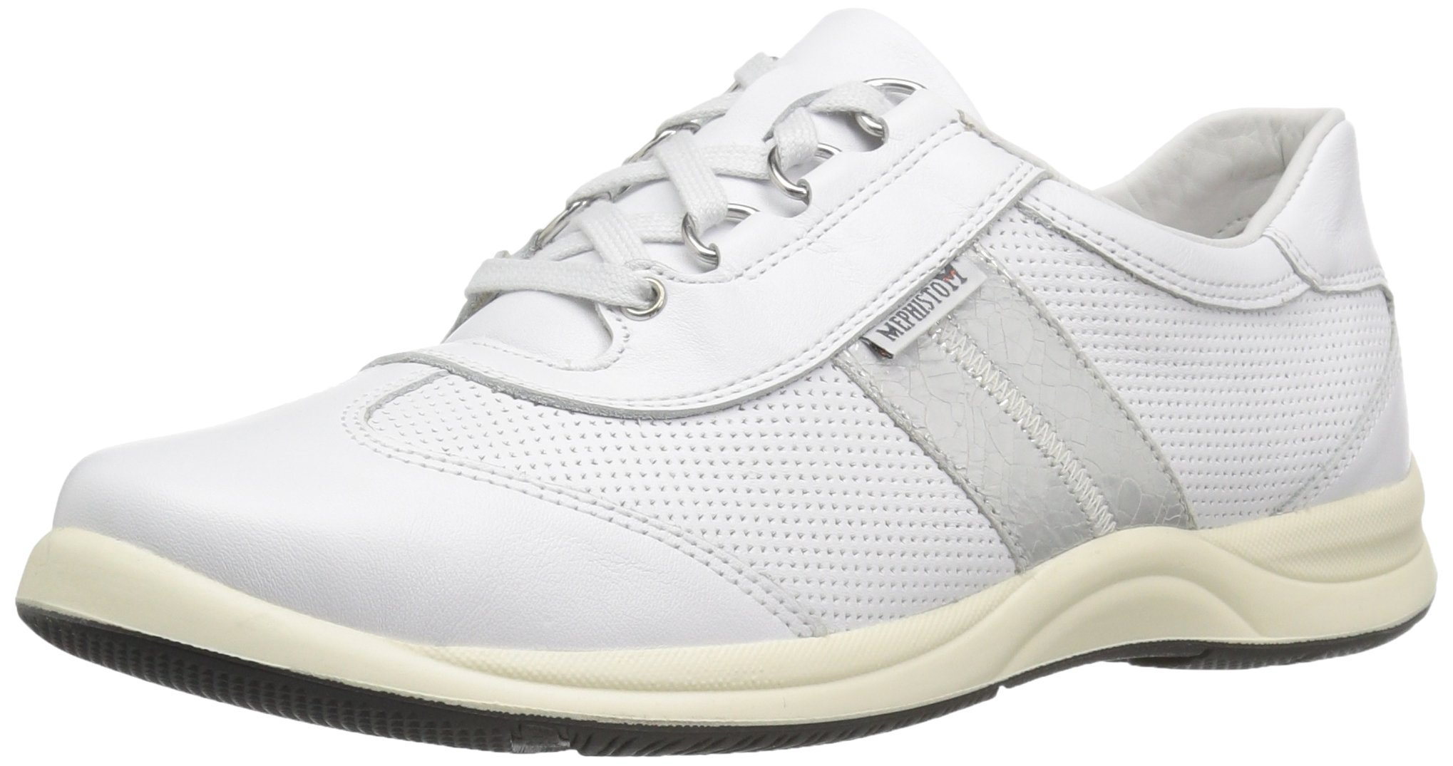 Mephisto Women's Laser Perf Oxford, White Smooth/Silver Ice, 8.5 M US