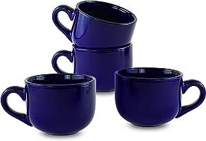 Serami 15oz Cobalt Coffee Latte Ceramic Mugs with Thick Walls and Handle, 4pk