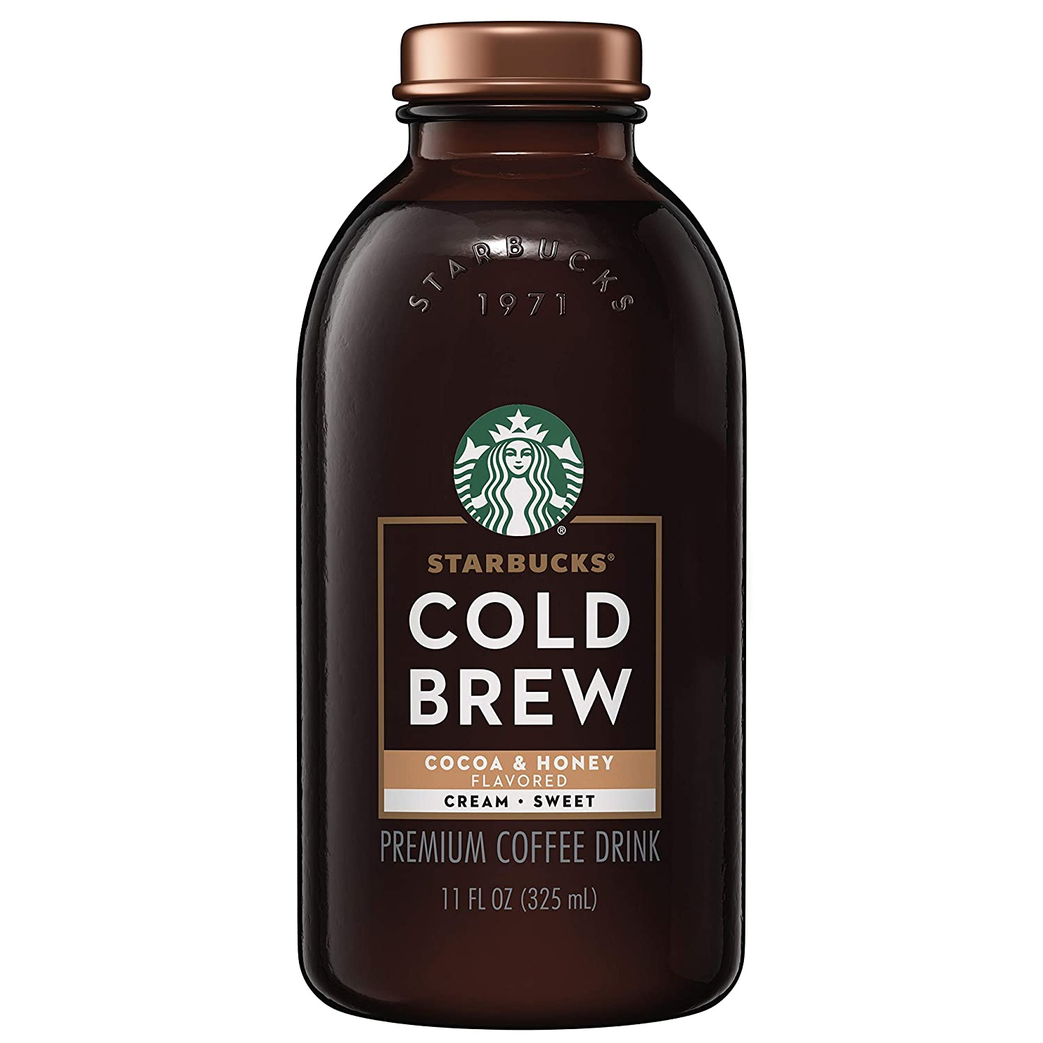 Starbucks Cold Brew Coffee, Cocoa & Honey with Cream, 11 Fl oz Glass Bottles, 6 Count
