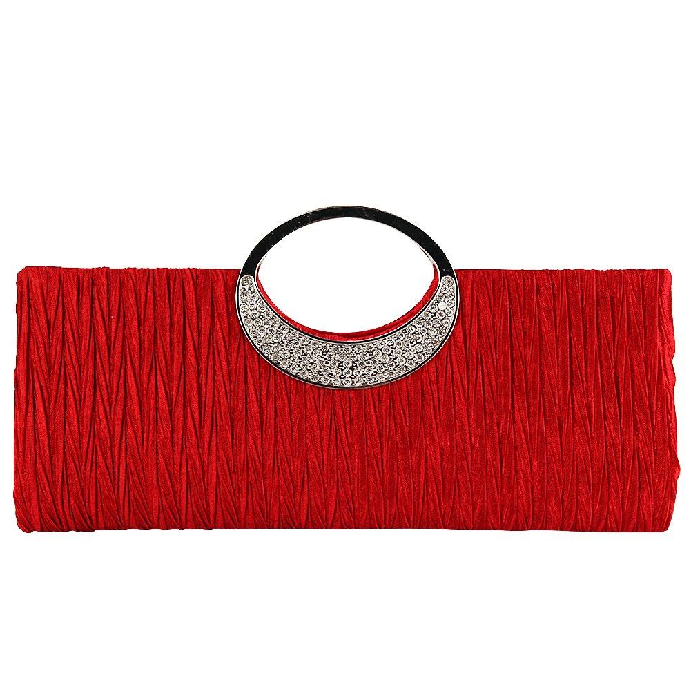 TOPCHANCES Women's Evening Party Rhinestone Satin Pleated Evening Wedding Party Clutch Purse Wallet Handbag (Black)