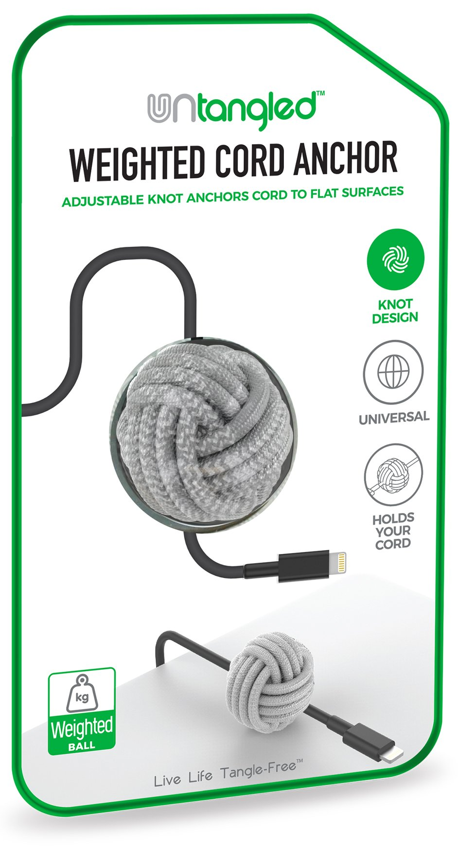 Untangled Weighted Desktop Cord Anchor Holder Cable Organizer Wire Holder for Desk Wire Management Cable Cord Ball Adjustable Knot Anchor (Silver)