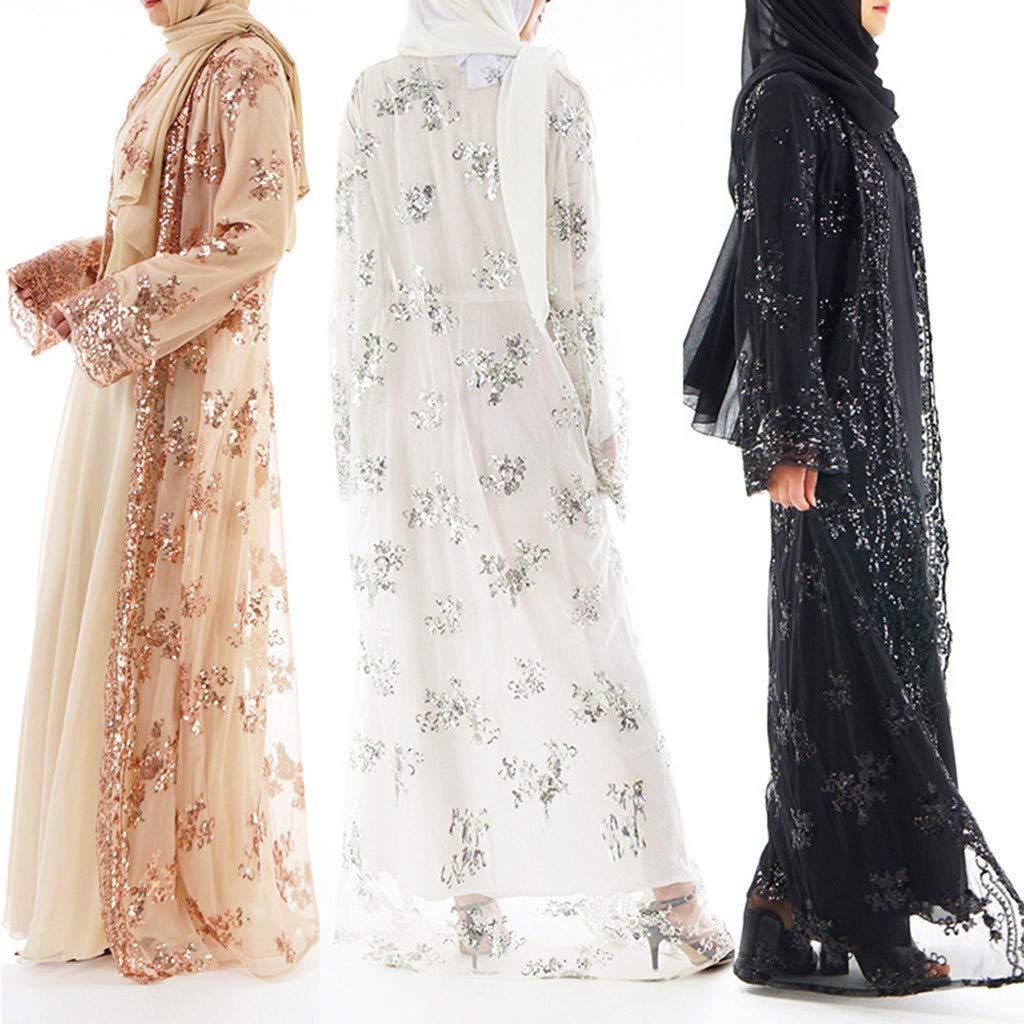 Lucky Mall Frauen Stickerei und Pailletten Islamisch Kittel Damen Muslim Kleidung Sommer Lange /Ärmel Ramadan Bluse Mittlerer Osten Saudi Arabisch Traditionell Ethnische Kleidung