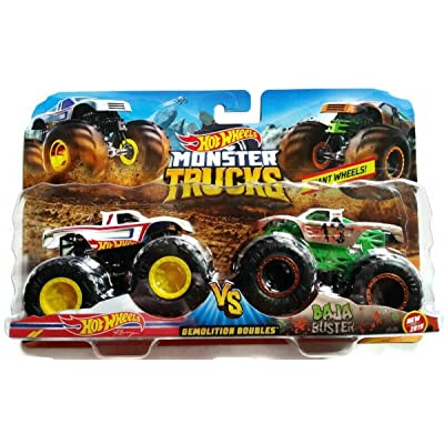 Hot Wheels 1:64 Monster Trucks 2020 Demolition Doubles Racing vs Baja Buster: Toys & Games