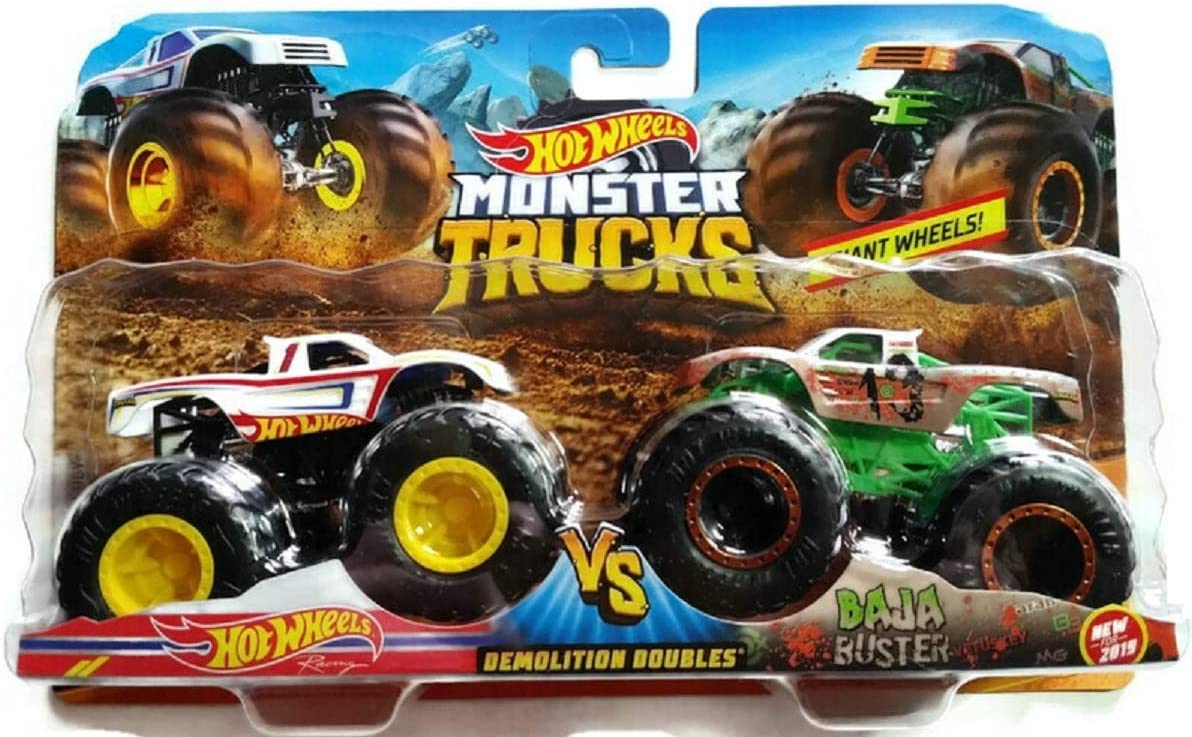 Amazon Com Hot Wheels 1 64 Monster Trucks 2019 Demolition Doubles Racing Vs Baja Buster Toys Games