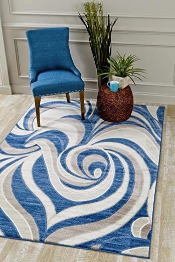 Persian-Rugs 3894 Modern Blue 7'10×10'6 Area Rug Carpet Large New