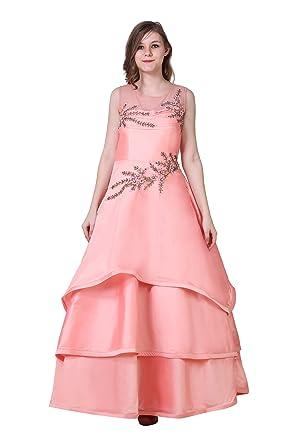 0ec908fd97c5 Maharani Shakuntala Fashions Women's and Girl's Net and Taffeta Party Wear  Indo Knee Length Heavy Gown