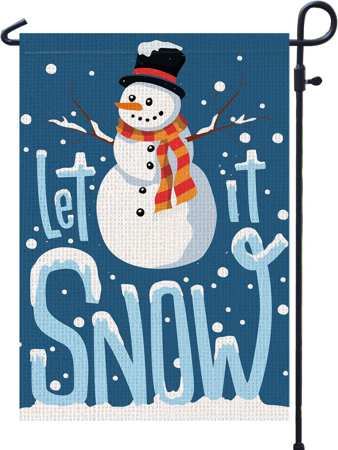 PAMBO Winter Snowman Garden Flag Decorations - Let it Snow Christmas Snowman Garden Flag for Outside Yard 12x18 Double Sided