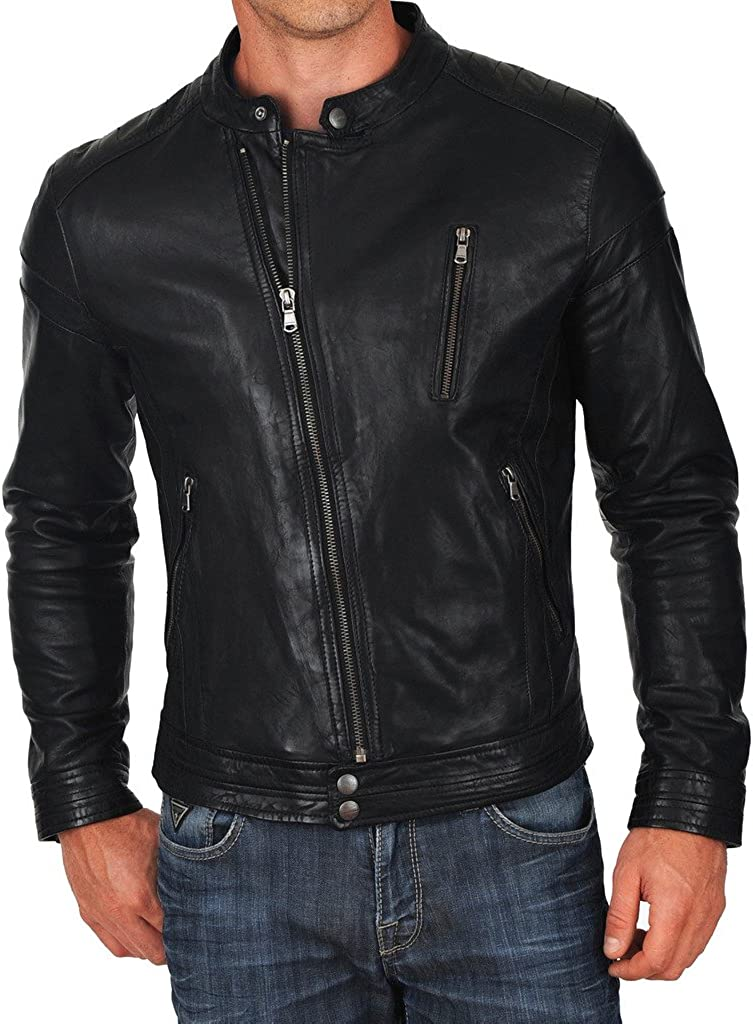 New Mens Designer Jacket Slim fit Stylish Cow Leather Jacket KC208