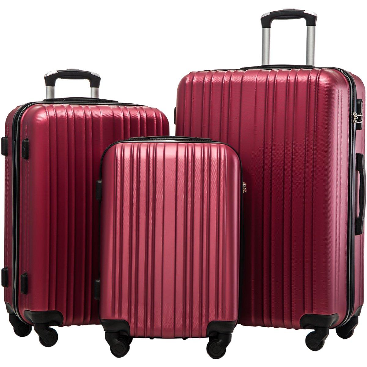 Merax Hylas 3 Piece Luggage Set Lightweight Spinner Suitcase(Wine Red)