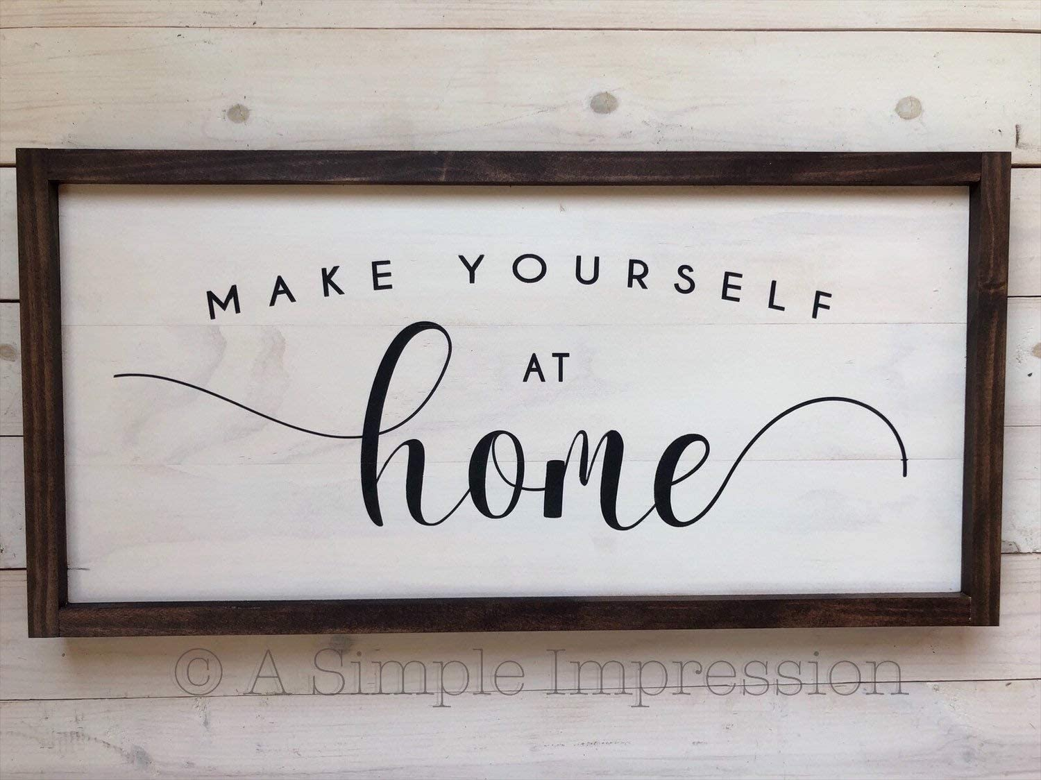 Flowershave357 Distressed Make Yourself at Home Sign Farmhouse Wall Decor Welcome Sign Painted Wood Sign Rustic Decor Entryway Wood Sign
