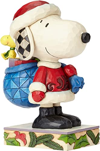 Enesco Peanuts by Jim Shore Santa Snoopy and Woodstock Stone Resin, 10.25 Figurine