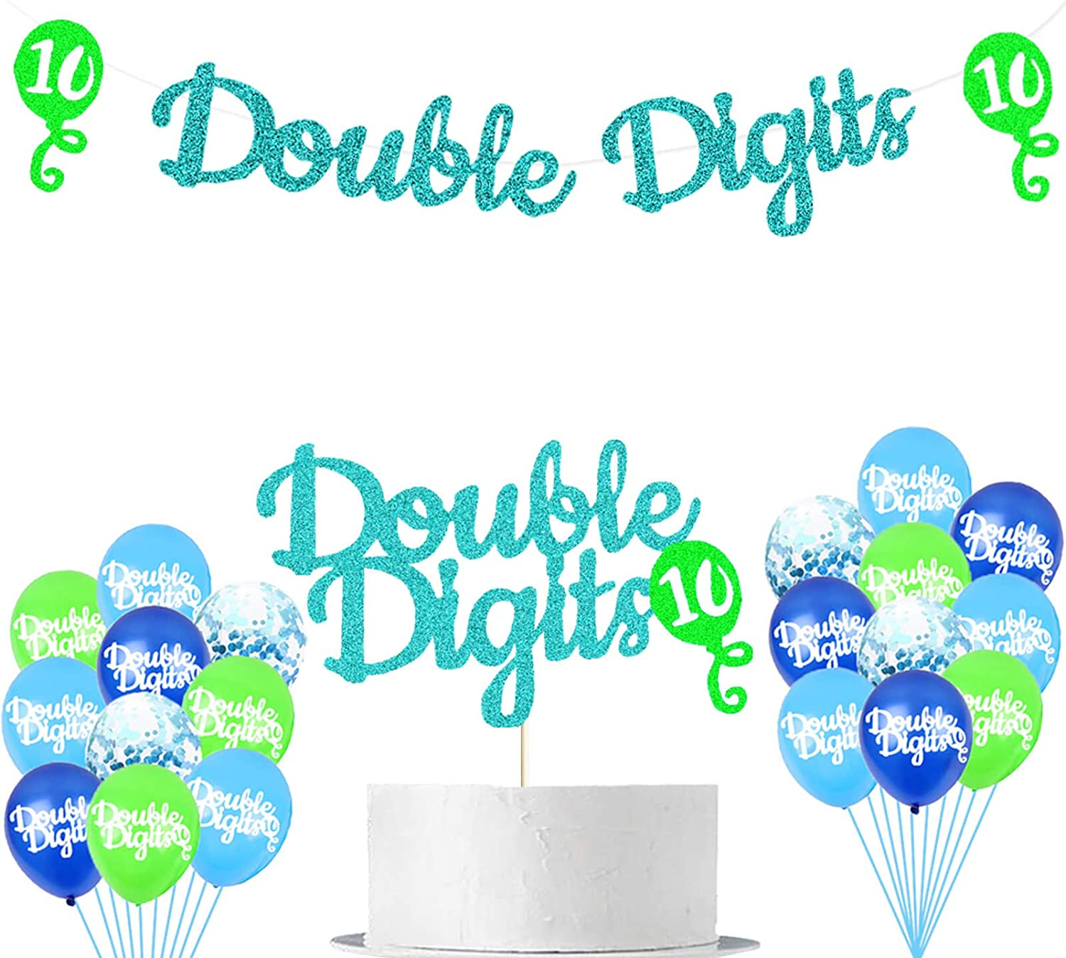 LetDec Happy 10th Birthday Party Supplies Green and Blue Glittery Double Digits Birthday Banners Balloons Cake Topper Hello 10/10 & Fabulous Themed Boys Tenth Birthday Party Supplies Decorations