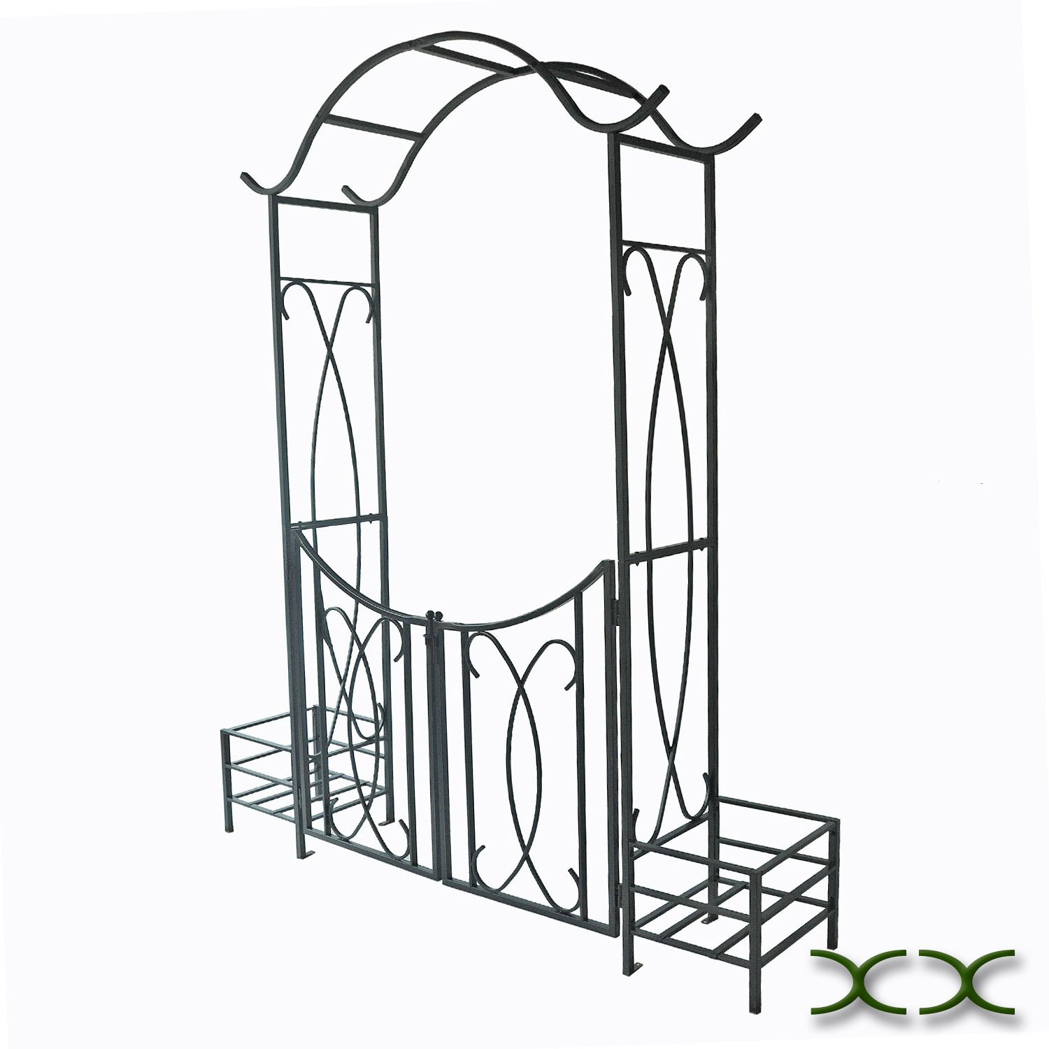 AXXONN Garden Arbor with Gate and Planter Holders