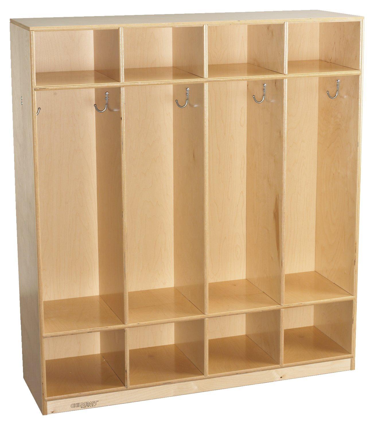 Childcraft 593592 4-Unit Coat Locker, 14.75'' Height, 35.75'' Width, 48'' Length, Natural Wood