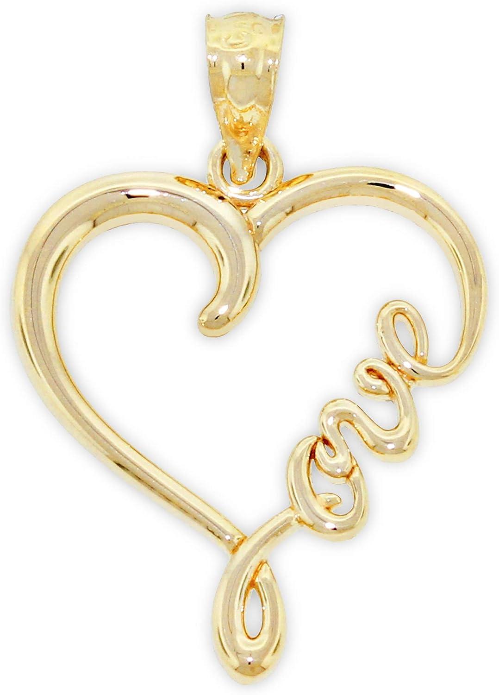 "Charm America - Gold""Love"" Heart Charm - 14 Karat Solid Gold"