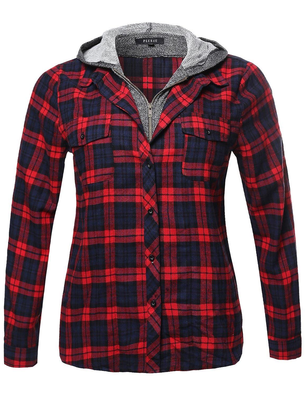 Plus4u Women's Long Sleeve Two Tone Terry Mixed Hoodie Plaid Shirt